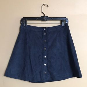 Snap Button Suede Skater Skirt